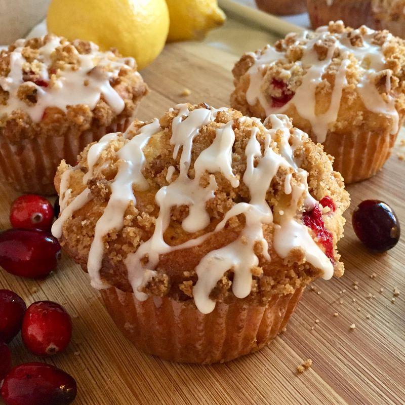 Cranberry Muffins with Walnut Streusel and Lemon Glaze
