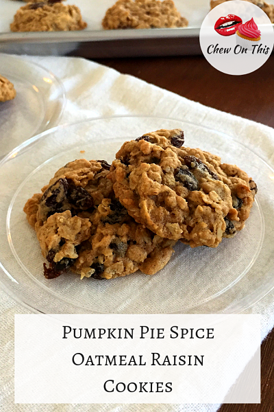 Oatmeal Raisin Cookies | Adding pumpkin pie spice to these easy, chewy oatmeal cookies takes them to a whole new level!
