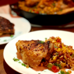 Easy One Pan Mexican Chicken and Rice   Packed with flavor and comes together in one pan...that's a reason to celebrate!