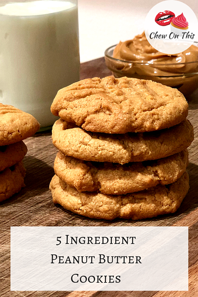 Peanut Butter Cookies | These easy 5 ingredient peanut butter cookies bake up fast, are melt in your mouth delicious...and they're flourless!