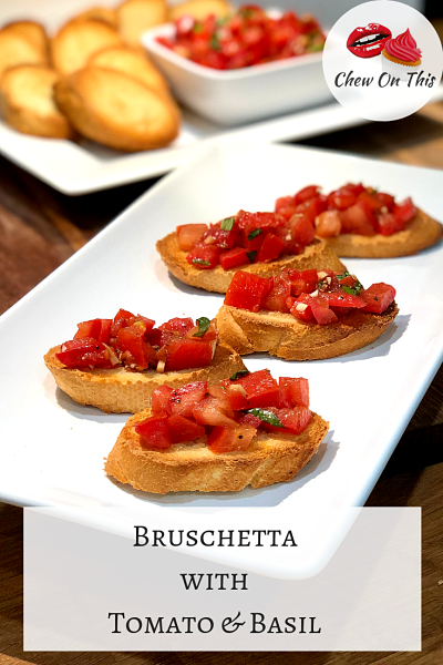 Tomato and Basil Bruschetta | Toasty bread with fresh tomatoes, garlic and basil! So easy and so delicious!