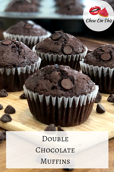 Double Chocolate Muffins | Quick and easy, these chocolate muffins are packed with chocolate chips!