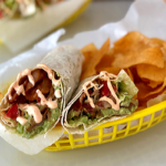 BLT Wraps with guacamole and spicy mayo