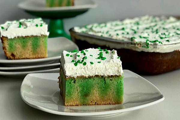 St. Patricks Lime Poke Cake