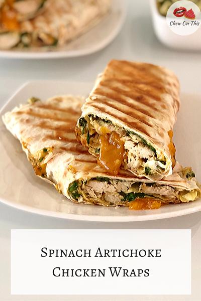 spinach artichoke chicken wrap
